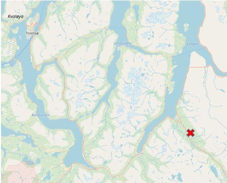 The red cross indicates the location of the observatory where the observation campaign took place, nearby Skibotn.