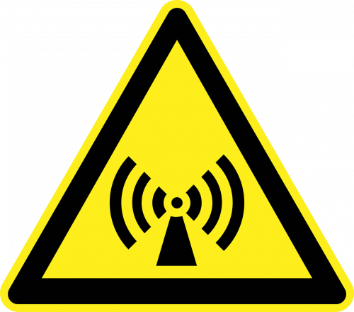 Yellow black warning sign triangle