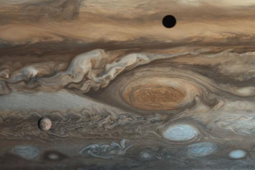 Jupiter, Europa and Io's shadow